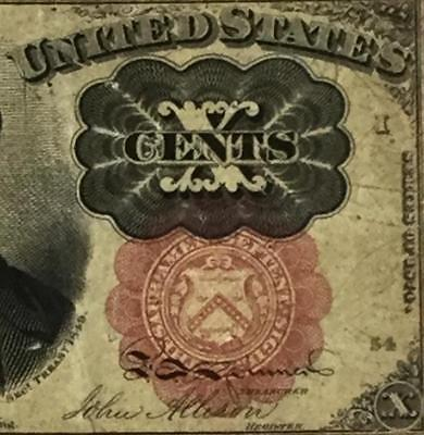 """1874 US Fractional Currency """"TEN CENTS"""" Old US Paper MOney Currency"""
