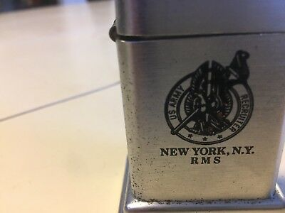 Rare Us Army Recruiters RMS NY,NY Vintage Zippo Barcroft Table Lighter As Is