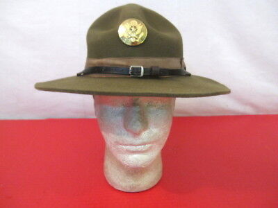 post-WWII US Army M1911 Montana Peak Campaign Hat - w/NCO Enlistedman's  Emblem