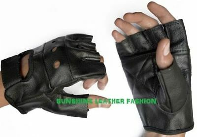 Mens Thick Leather Fingerless Driving Motorcycle Biker Gloves New All Sizes