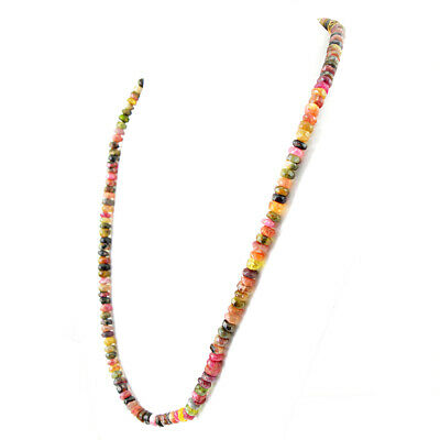 Best Aaa 175.00 Cts Natural Watermelon Tourmaline Untreated Beads Necklace (Rs)