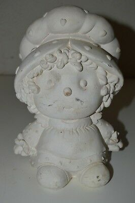 Vintage Unpainted Paintable Strawberry Shortcake Ceramic Baby Doll Piggy Bank