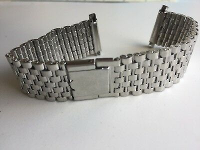 Vintage Retro 18mm-22mm 1970 Period Stainless Steel New Watch Strap Bracelet NOS