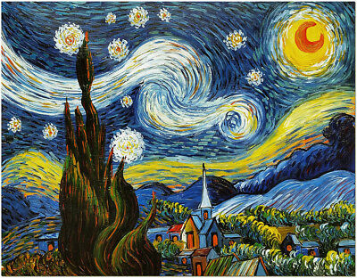 Starry Night - 50x60cm Hand Painted Van Gogh Impressionist Oil Painting Canvas