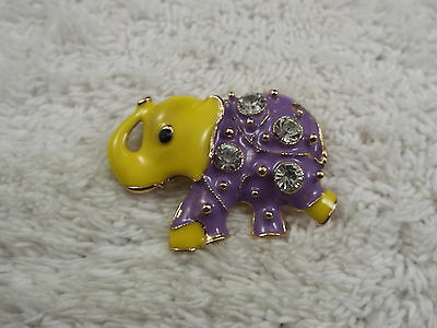Goldtone Yellow Purple Elephant Pin (D71)