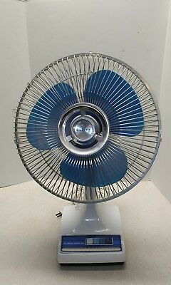 "Vintage Galaxy Blue Blade Desk Fan 12"" Oscillating 3 Speed Electric"