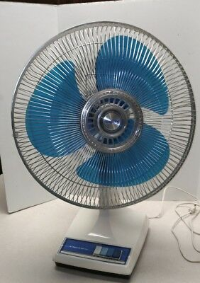 "Rare Vintage Galaxy Fan 16"" Type 16 Oscillating Blue Blades Retro"