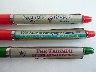 2 Floaty pens  ATLANTA 1996 Paralympic Games stylo mobile schwimm kugelschreiber