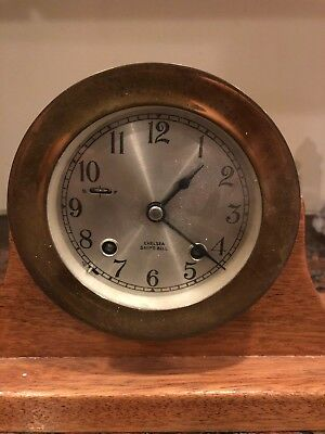 Chelsea Ships Bell Clock with Key and in Great working order