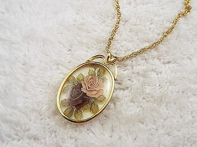 Goldtone Pink Purple Rose  Pendant Necklace  (D54)
