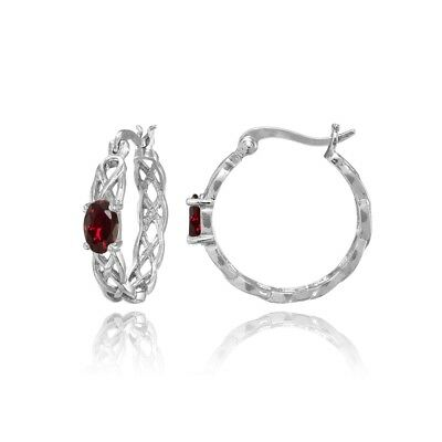 Celtic Knot Created Ruby Round Hoop Earrings in Sterling Silver