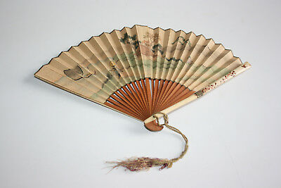 Antique Chinese Japanese Bamboo Bovine Bone Carved Painting Silk Paper Hand Fan