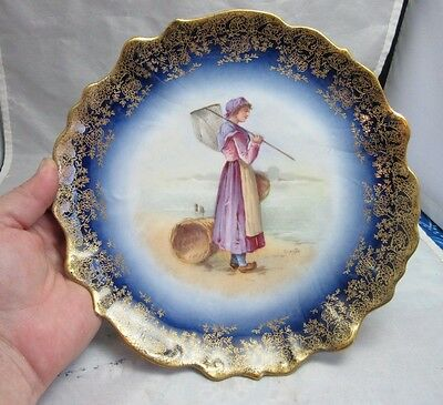 Vtg antique hand painted B&R Limoges France plate. Dutch Lady clamming on beach