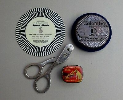 Vintage Gramophone Fibre Needle Cutter Speed Check Record Cleaner Tin Needles