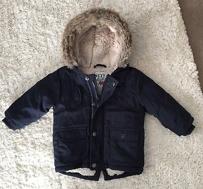Next Baby Boys Navy Blue Fur Lined Sherpa Hooded Jacket Coat, 9-12 Months