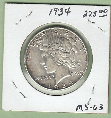 1934 United States Peace Dollar Silver Coin - MS-63