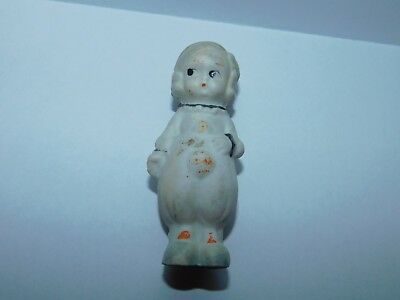 Vintage Frozen Charlotte Bisque Japan Girl Clown Doll Figure 2 3/4""