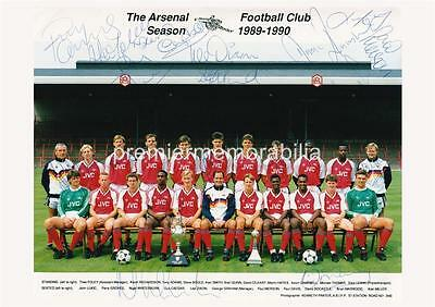 ARSENAL FC 1989-1990 DAVID ROCASTLE TONY ADAMS PAUL MERSON SIGNED (PRINTED) x 18