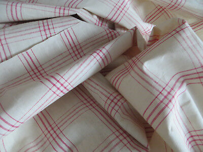 "Unused Antique  White Red  Linen Fabric  Upholstery   31 "" by 89 "" 2.47 Yards"