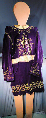 Antique GOLD Yellow Purple Velvet Odd Fellows Theater Costume KING Silk AS IS