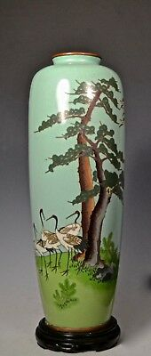 Large Fine Silver Wire Antique Japanese Meiji Cloisonne Scenic Vase *signed