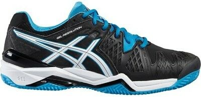Mens Black asics Gel Resolution 6 Clay Court Tennis Shoes Trainers Size 9.5 11