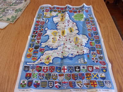 vintage linen Historical map of England and Wales webbs pure linen Ireland