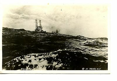 Tempestuous Sea-Ship in Large Ocean Waves-RPPC-Vintage Real Photo Postcard