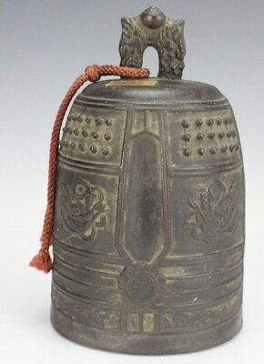 Vintage Chinese Export Buddhist Temple Relief Solid Bronze Hanging Bell Gong SLG