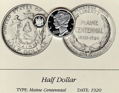 1920 Maine Centennail Half Dollar 50c Franklin Mint Miniature Proof Silver Coin