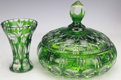 Vintage Lot Of 2 Pasco Bavaria Germany Green Cut To Clear Crystal Vase Dish LWB