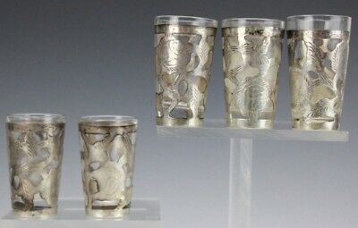 Set 5 Mexican Sterling Silver 925 Overlay Glass Insert Cordial Liqueur Shotglass