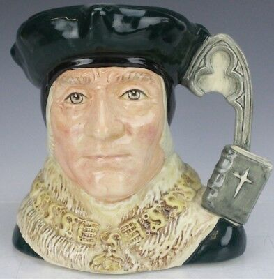 Retired Royal Doulton Sir Thomas More D6792 Large Painted Character Toby Jug FTL