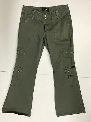 ANGELS Juniors Girls size 13 Green Cargo  6 Pocket Flare Stretch Jeans