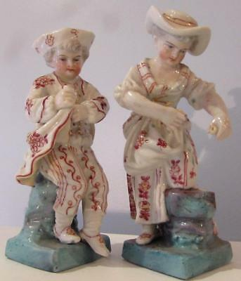 Pair of Antique 19thC German /  French ? Porcelain Figures / Figurines
