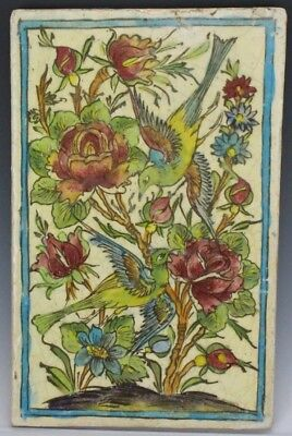 """15"""" Antique Hand Painted Exotic Songbird Wildflower Home Decor Wall Plaque LZO"""