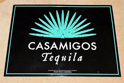 """CASAMIGOS TEQUILA Embossed TIN SIGN w/ Blue Agave Plant UNUSED MINTY 24"""" x 18"""""""