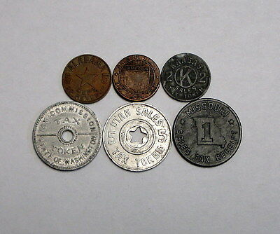 Lot of 6 Circulated US Tax Tokens From Different States