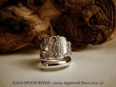 Beautiful Floral Scandinavian Silver  Spoon Ring 1949 The Perfect Valentine Gift