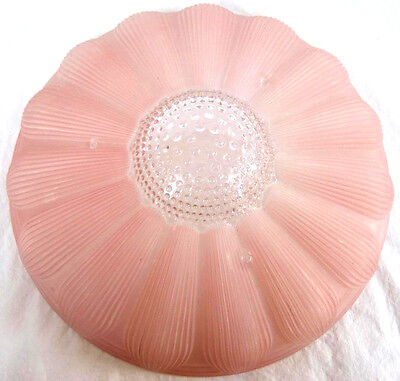Vintage Art Deco Pink Frosted Glass Flower Clear Hobnail Ceiling Shade 11.25""