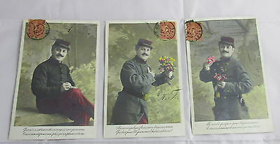 Antique France Real Photo Soldier Man with Flowers Love Letters Postcards Set 3
