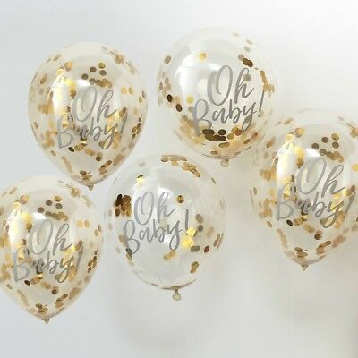 5 Oh Baby Gold Confetti Filled Balloons - Baby Shower Party Decoration