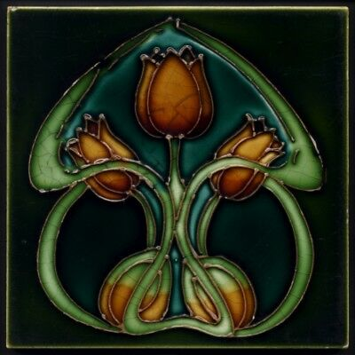 TH3292 Genuine Antique Rare Tubelined Art Nouveau Triple Tulip Tile c.1910