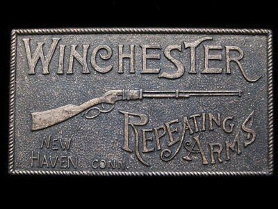 IA13141 VINTAGE 1970s ***WINCHESTER REPEATING ARMS*** BRASSTONE GUN BUCKLE