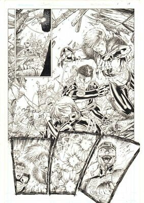 Teen Titans Annual #1 p.19 - Legion of Super-Heroes Action art by Brett Booth