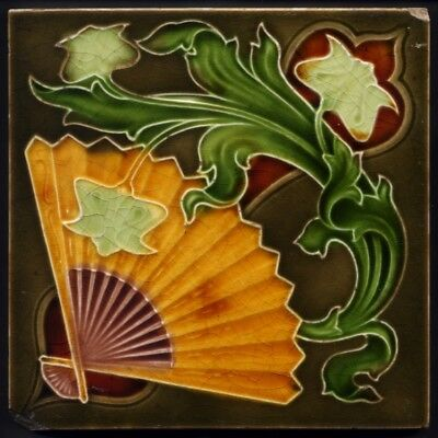 TH3293 Anglo-Japanese Art Nouveau Majolica Tile Henry Richards Rd.1903