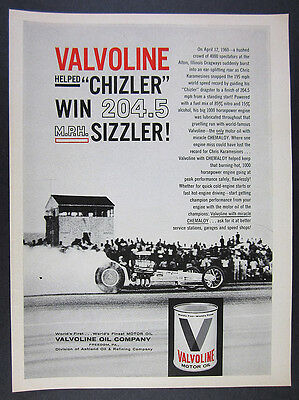 1961 Chizler Dragster at Alton IL Dragways photo Valvoline Oil vintage print Ad