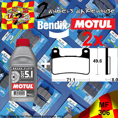 2x BENDIX 306-MF & DOT5.1 BRAKE FLUID SINTERED PADS KIT FITS MOTORCYCLES LISTED