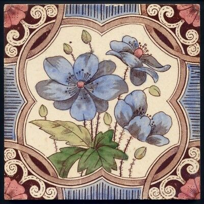 TH3133 Rare Victorian Floral Print & Tint Tile T & R Boote* c.1890