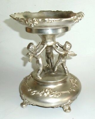 Lovely Silver Finished Bowl Stand w 3 Figural Cherubs